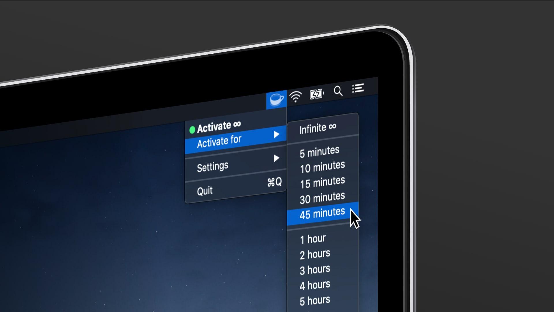 Screenshot of Theine app