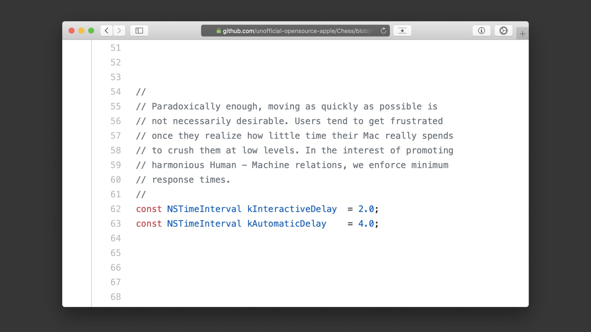 Auszug aus dem Quellcode der Apple Chess Engine