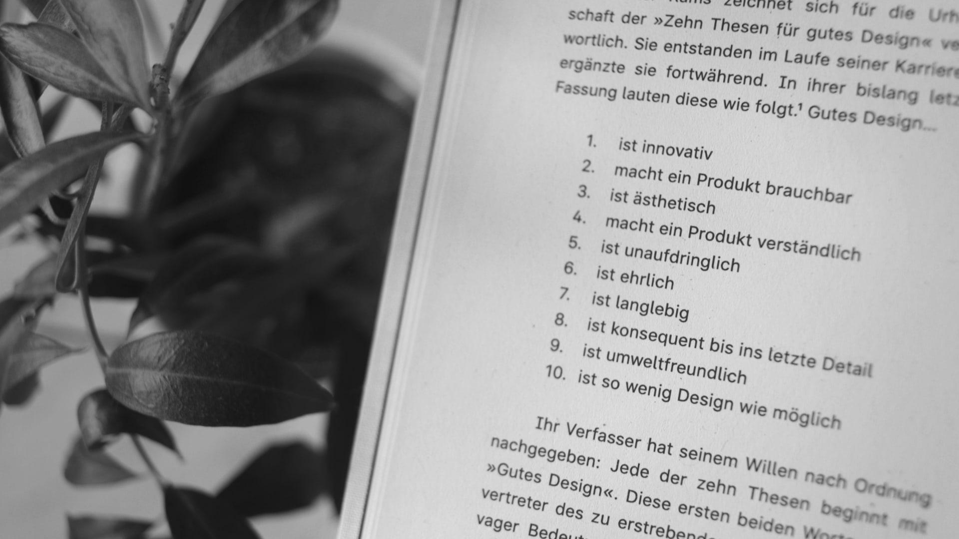 Die Zehn Thesen für Gutes Design von Dieter Rams